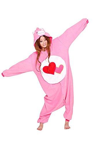 Erwachsene Unisex Tier Kostüm Cosplay Overall Pyjama Outfit Nacht Fleece Halloween Bear Gr. XL(178-188 cm), Heart