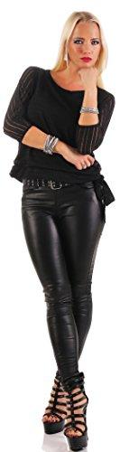 Mr. Shine® – Damen Kurzarm Top Bluse Hemd Shirt Sweatshirt Oberteil Kurz Wickeltop Sommer Party Tops Größe S, M, L, XL, XXL Schwarz
