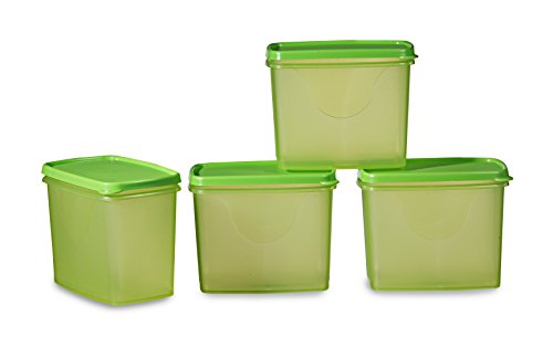 All Time Plastic Sleek Container Set, Set of 4, Green
