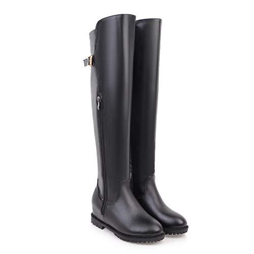 AOOEL Damen Oberschenkel Hoch Flache Niedrige Ferse Damen Rei?verschluss Winter Beilaufig Hohe Stiefel Overknees Stiefeletten,Black-EU:42=11B(M) US
