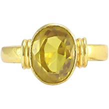 Pranjal Gems Certified 7.25 Ratti Pukhraj Guru Graha Rashi Ratan Panchdhatu Natural Yellow Sapphire Gemstone Ring Anguthi for Astrological Purpose for Men and Women