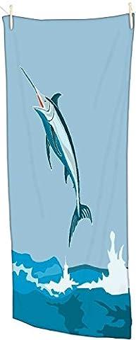 snoogg Bleu Marlin Poisson Saut Rétro Serviette de plage ultra doux et absorbant en microfibre de bain 76,2x 147,3cm, Gym Serviette de voyage