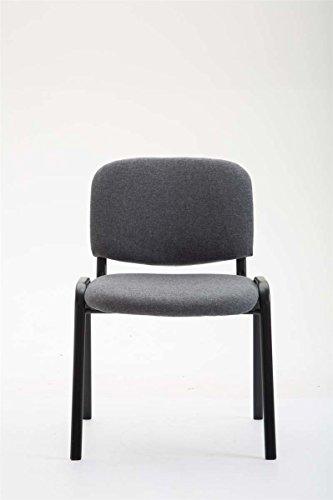 CLP Konferenzstuhl KEN V2 mit Stoffbezug und hochwertiger Sitzpolsterung | Robuster und stapelbarer Besucherstuhl | In verschiedenen Farben erhältlich Grau - 2