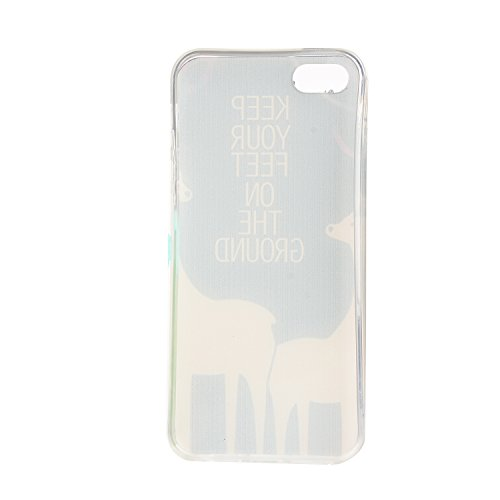 TPU Souple Etui Gel Léger Ultra Slim Flexible Anti Rayures Couverture Couverture de Protection Anti, Coque Cristal pour Apple iPhone 5 / 5s / SE Slim Coque Housse Etui +Bouchons de poussière (3QQ) 13