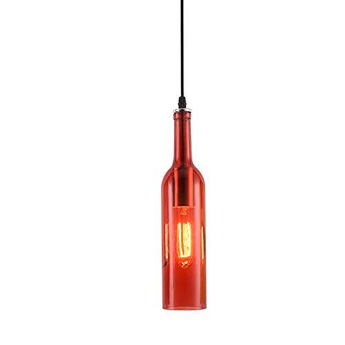 Dekoration Farbig Glas klar Pendelleuchte Industrial Wind Hängelampe Pendellampe Hängeleuchte Bunt Wein Flasche Lampenschirm Retro Anhänger Leuchter Lampe Kronleuchter E27 Glühbirne (Einzelkopf Rot) - Glühbirne Aus Glas Anhänger