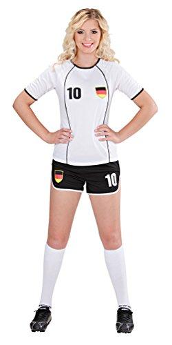 Kostüm Fußball Halloween Spieler - Karneval-Klamotten Kostüm Fußballspielerin Deutschland Damen-Kostüm Fußball Fanartikel WM 2018 Größe 42/44