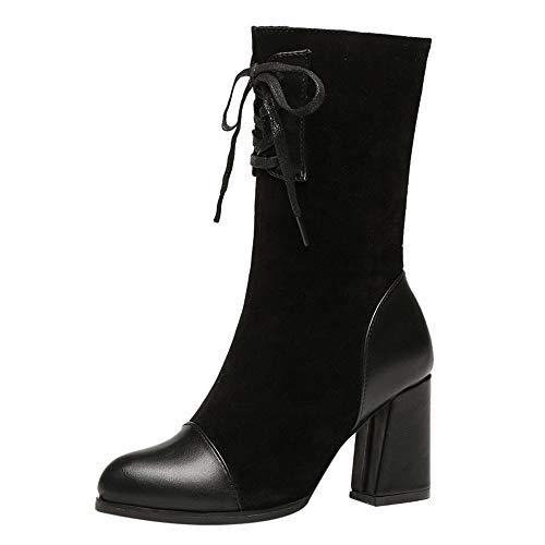 Bazhahei donna scarpa,stivali martin tacco alto lace-up stivali di tubo centrale,invernali/autunno tacchi alti scarpe singole stivaletti shoes con tacco basso stivale,boots moda da donna