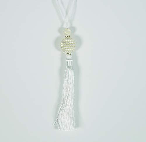 �ck APPENDINI Kugel weiß Perlen Perlen Perlen Perlen Perlenband 22 x 3 cm Weihnachten Strass Anhänger Bäume ADDOBBO Weihnachten Festa Party CENONE CASA ()
