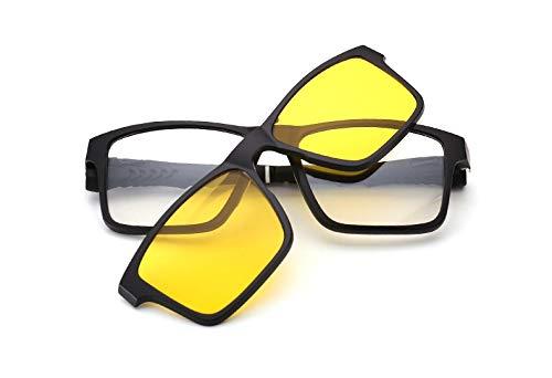 LKVNHP Square Polarized Magnet Clip On Sonnenbrille Frauen Männer Titan Sonnenbrille Für Männer Fahren Double Lens Prescription Frames ShadesNachtsicht