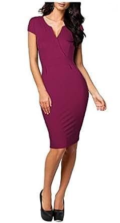 Miusol Mode Damen Cap-Ärmel Elegantes V-Neck Wrap Bodycon Mini Cocktail Business Kleid Gr.36-44 (36)