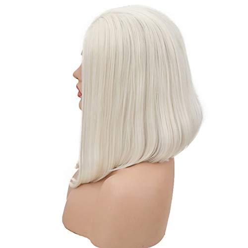 REAWOW Blonde Lace Front Perücke Kurze Bob Perücken Synthetische Glattes Haar Halbe Hand Gebunden Perücke für Frauen (14 Zoll) -