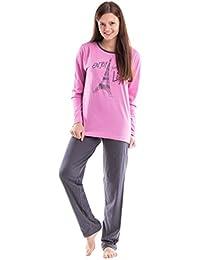Moonline gemütlicher Damen-Pyjama Schlafanzug Hausanzug mit trendig bedrucktem Langarmtop aus 100% Baumwolle