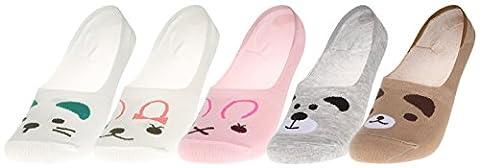 EOZY 5 Paires Chaussettes Enfant Femme Basse Sock Courte Socquette Sport Mixte