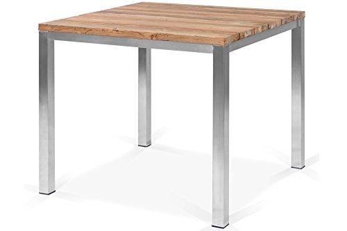 OUTFLEXX Balkontisch Gartentisch in Natur rustikal gebürstet, Esstisch aus Edelstahl und recyceltem Teak-Holz, Tisch für Moderne Gärten
