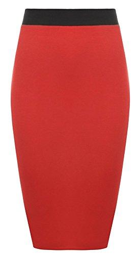 Damen Bleistift Schlauch Rock Elastisches Kontrast Taillenband Figurbetonter Büro Midi Rock Plus Größen - 44 / 46, Rot (Plus Rock Größe)