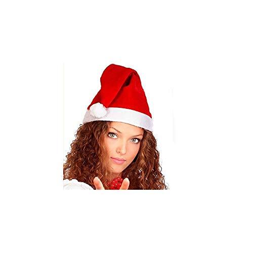 TrAdE shop Traesio Cappello Cappellino Babbo Natale in Velluto Santa Claus Colore Rosso