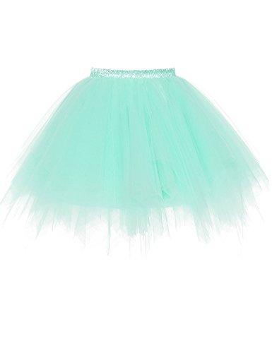 RuiyuhongE Frauen 1950er Jahre Vintage Short Petticoat Ballett Bubble Tutu Rock (L/XL, Minze) (1950 Minze Kleid)