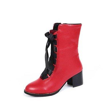 LFNLYX Da donna-Stivaletti-Formale / Casual-Anfibi-Plateau-Pelle-Nero / Giallo / Rosso / Beige Red