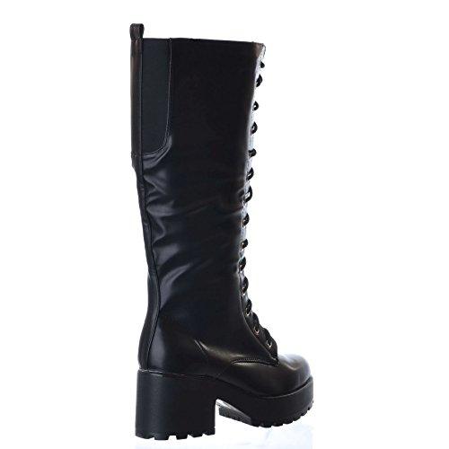 NUOVO da donna al ginocchio plateau DOPPIO MEDIO tacco spesso con lacci stivali con cerniera Nero (Ecopelle nera)