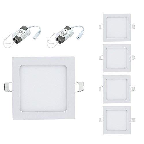 10x 12W LED Eckig Panel Licht Einbaustrahler Deckenleuchten Ultra slim mit Trafo AC85-265V Warmweiß (10x 12W Panel Warmweiß) -