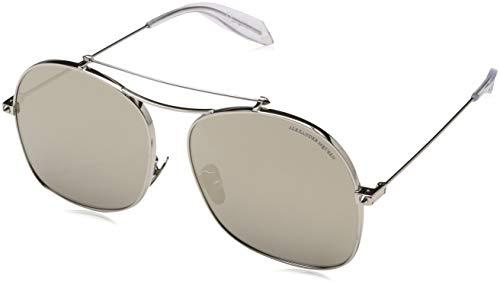 Alexander McQueen Unisex-Erwachsene AM0088S 005 59 Sonnenbrille, Silber (005-Silver/Gold),