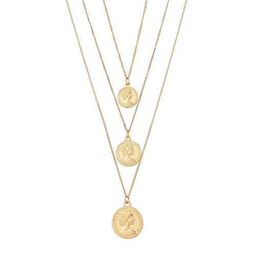 Geschnitzte Medaillon (ZGRJIUERYI Damen Halskette Aus Legierung,Vintage Geschnitzte Münze Halskette Für Frauen Mode Gold Farbe Medaillon Halskette Mehrere Schichten Anhänger Lange Halsketten Schmuck)