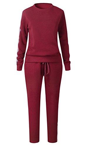 Donna 2 Pezzi a righe Stampato Tuta Da Ginnastica Jogging Sportiva Pullover Felpa Top e Pantaloni Vino rosso