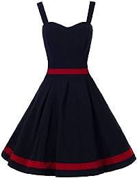 N028 Damen Kleid Rockabilly Petticoat Sommerkleid Retro 50er Jahre Vintage Party