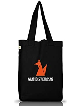 Shirtstreet24, WHAT DOES THE FOX SAY? Tier Natur Jutebeutel Stoff Tasche Earth Positive (ONE SIZE)