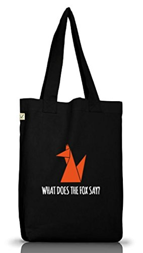 Shirtstreet24, WHAT DOES THE FOX SAY? Tier Natur Jutebeutel Stoff Tasche Earth Positive (ONE SIZE) Black