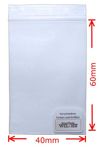 Druckverschlussbeutel 40x60 mm 90my 100 Stück wasserdichte wieder-verschliessbare Zip-Beutel kleine Beutel mit Verschluss Baggies oder Tütchen von WeltiesSmartTools