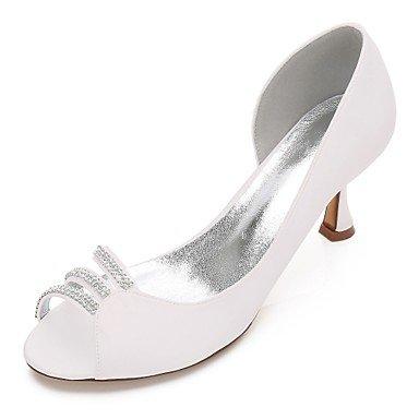 Rtry Chaussures De Mariage Pour Femmes Satin Comfort Spring Summer Wedding & Amp; Robe De Soirée Bowknot Strass Heelivory Plat Champagne Bleu Rubis Us6.5-7 / Eu37 / Uk4.5-5 / Cn37