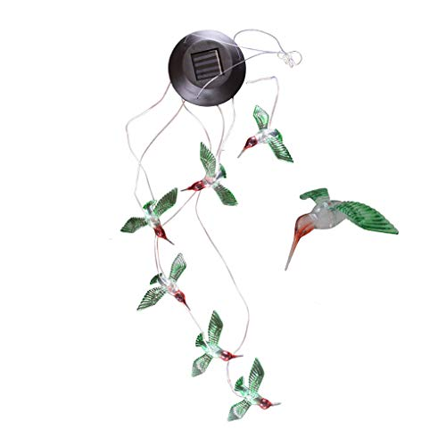 BiliWL Solarbetriebenes LED-Licht Libelle Kolibri mit Farbwechsel Hummingbird White Light