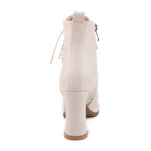 AalarDom Femme Haut Bas Plate-Forme Étanche Zip à Talon Haut Rond Bottes Beige