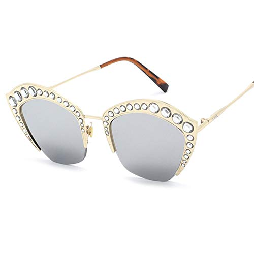 Z&HA Womens Crystal verschönert Sonnenbrille Glittered Metal Frame Fashion Eyewear UV400,03