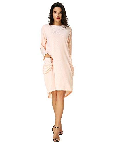 Kidsform Women Oversized Dress O-Neck Long Sleeve Tops Plus Size Shirt Dress Pockets Baggy Short Tunic Dress