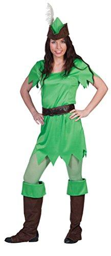 Karneval-Klamotten Peter Pan Frauen Bogenschütze Kostüm Damen-Kostüm mit Stulpen und Hut Größe 40/42 (Baby Peter Pan Kostüm)