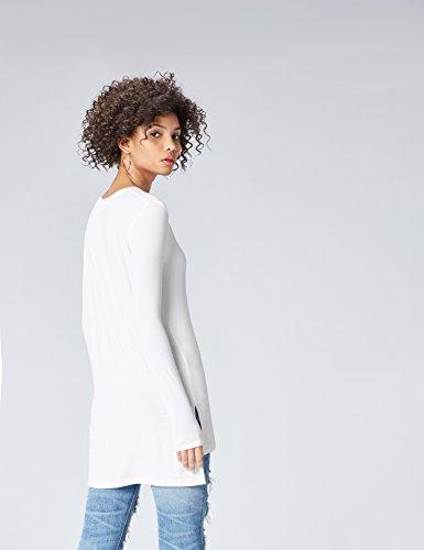 FIND Damen Langarmshirt mit Seitenschlitzen Weiß (White)