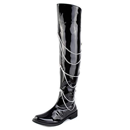 SHANLY Herren Lackfarbe PU-Leder Over The Knee Stiefel Seitlichem Reißverschluss Wies Wellington Boots Film Kostüm Halloween Cosplay Lokomotive Reiten,Black-39 (Armee Cadet Kostüm)