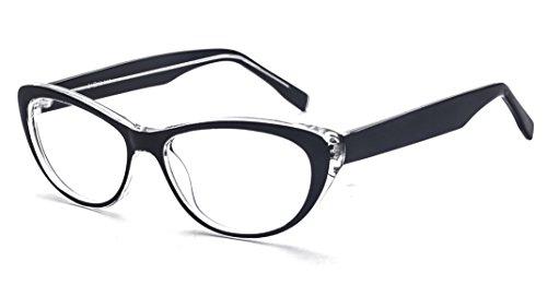 ALWAYSUV Katzenaugen Rahmen Klare Linse Retro Brillenfassung Mode Brille Cateye Glasses Schwarz