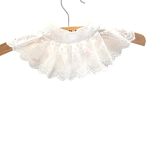 Erisl 1 Stück Frauen Dekorative Stickerei Blumenspitze Plissee Spread Bluse Gefälschte Falsche Kragen Einfarbig Aushöhlen Scalloped Trim Chocker Abnehmbare Halbhemd -