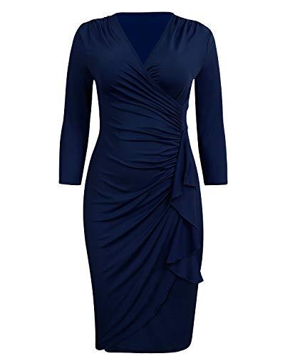 ABYOXI Damen Vintage Business Solid Elastisches Kleid 3/4 Ärmel V-NeckTight Cocktail Party Bleistift Große Größen Kleider Marine blau 4XL - Marine-blau-cocktail