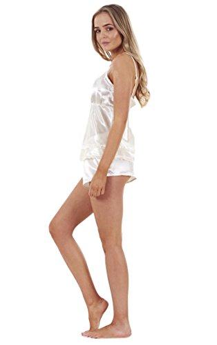 Ensemble pyjama femme 3 pièces en satin avec débardeur dentelle et short, vêtements de nuit pour femme Dentelle crème