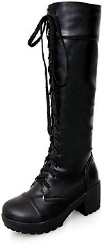 Heart&M Mujer Zapatos PU Otoño Invierno Confort Botas Tacón Robusto Dedo redondo Con Para Casual Blanco Negro... -