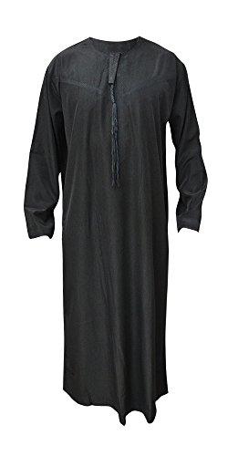 Desert Dress - Tunique Marocaine Homme Thobe Emirats Arabes Oman DishDasha Désert Arabe Afghane Saoudienne - Noir, 68