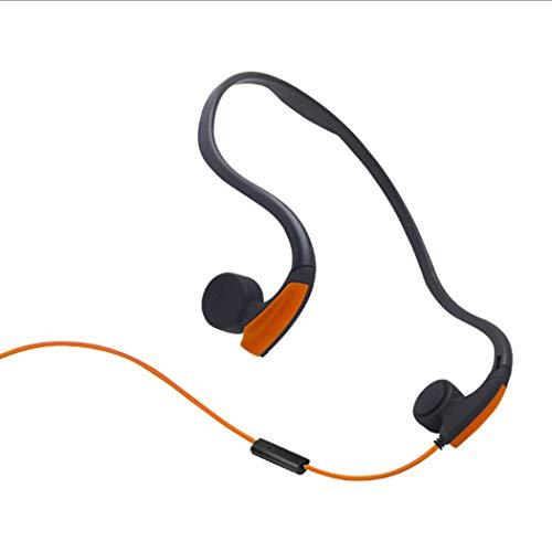 Rhbkw cuffie a conduzione ossea cablata open-ear cuffie stereo a prova di sudore leggero con microfono per andorid iphone altri dispositivi bluetooth,orange