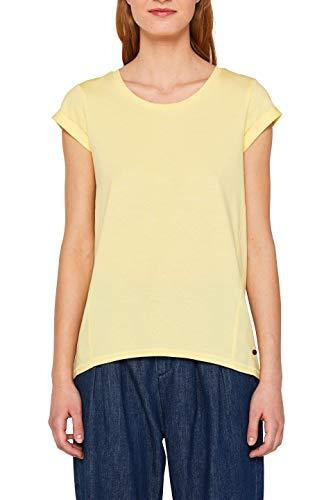 edc by ESPRIT Damen 059Cc1K002 T-Shirt, Gelb (Light Yellow 745), X-Large (Herstellergröße: XL) (Schlichtes Gelbes T-shirt)