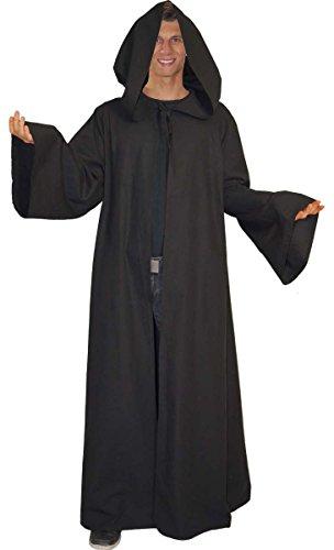 Maylynn – Umhang Mittelalter schwarz Mönch Kostüm Jedi Vampir Kutte 100% Baumwolle Gothic LARP Herren, Größe:M - 2