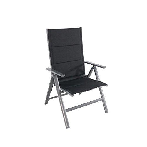 greemotion Chaise pliante de jardin XXL Grenada – Chaise réglable à dossier inclinable - Chaise de jardin grosse capacité noire – Chaise extérieur pliante et inoxydable – Chaise pliante aluminium