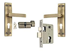 EMU Mortice Lock Set Complete Set (EC01MAB +MCERAB) with One Side Knob with One Side Key Plate Size 185 MM with Antique Brass Finish